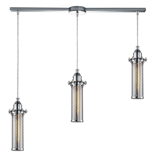 Elk Lighting Elk Lighting Fulton Polished Chrome Multi-Light Pendant with Cylindrical Shade 66315/3L