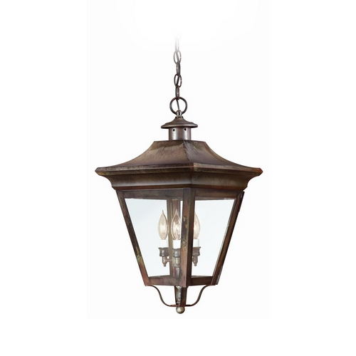 Troy Lighting Outdoor Hanging Light with Clear Glass in Charred Iron Finish FCD8935CI