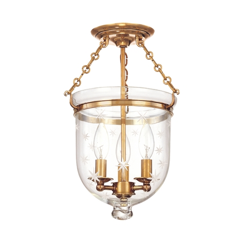Hudson Valley Lighting Semi-Flushmount Light with Clear Glass in Aged Brass Finish 251-AGB-C3