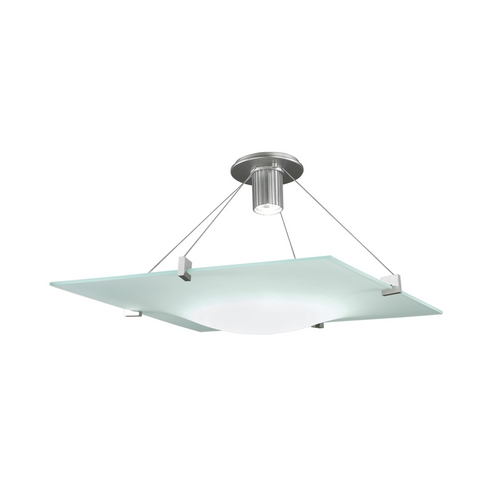 Sonneman Lighting Modern Semi-Flushmount Light with White Glass in Satin Silver Finish 3403.04
