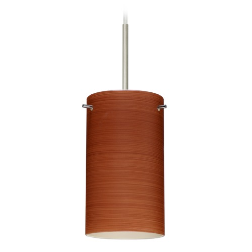 Besa Lighting Besa Lighting Stilo Satin Nickel Mini-Pendant Light with Cylindrical Shade 1BT-4404CH-SN