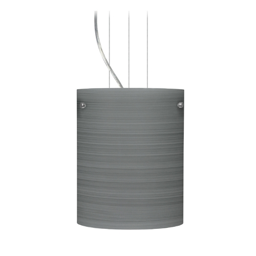 Besa Lighting Modern Pendant Light with Grey Glass in Satin Nickel Finish 1KG-4006TN-SN