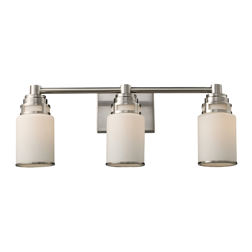 Elk Lighting Modern Bathroom Light with White Glass in Satin Nickel Finish 11266/3