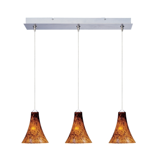 ET2 Lighting Modern Low Voltage Multi-Light Pendant Light with Amber Glass and 3-Lights E94833-104SN