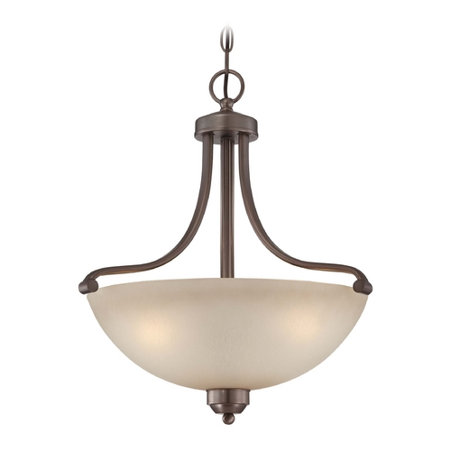 Minka Lavery 2-Lt Pendant Light in Harvard Court Bronze Finish - French Scavo Glass 1426-281