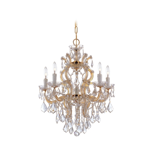 Crystorama Lighting Crystal Chandelier in Polished Gold Finish 4435-GD-CL-SAQ