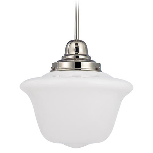 Design Classics Lighting 14-Inch Schoolhouse Pendant Light in Polished Nickel Finish FB6-15 / GD14
