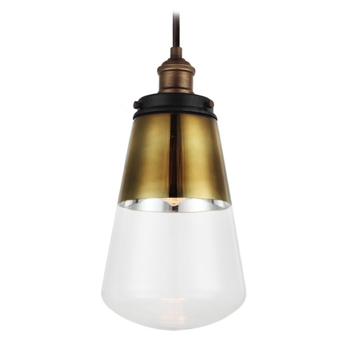 Feiss Lighting Feiss Lighting Waveform Painted Aged Brass / Dark Weathered Zinc Mini-Pendant Light with Empire Shad P1372PAGB/DWZ