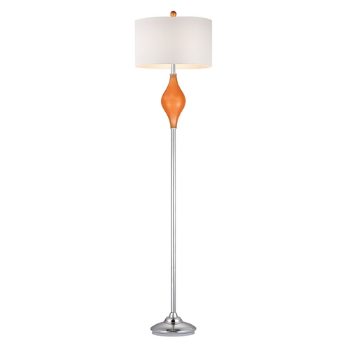 Dimond Lighting Floor Lamp with White Shades in Tangerine Orange with Polished Nickel Finish D2510-LED