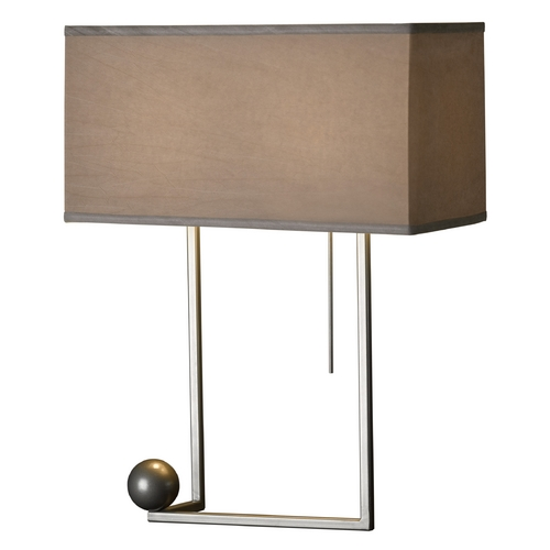 Hubbardton Forge Lighting Hubbardton Forge Lighting Balance Burnished Steel Table Lamp with Rectangle Shade 274101-08-381