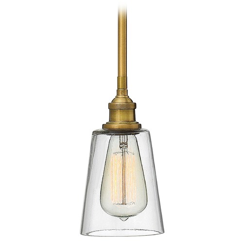 Hinkley Lighting Hinkley Lighting Gatsby Heritage Brass Mini-Pendant Light with Conical Shade 4937HB