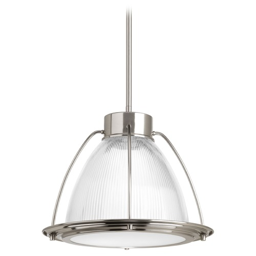 Progress Lighting Progress Lighting Prismatic Glass Brushed Nickel LED Pendant Light with Bowl / Dome Shade P5143-0930K9