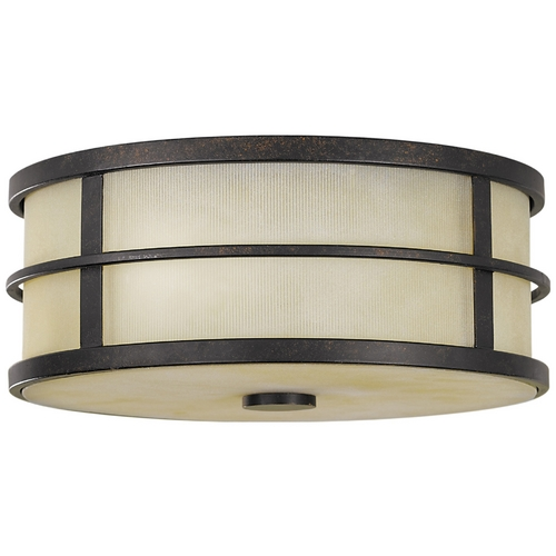 Feiss Lighting Modern Flushmount Light with Amber Glass in Grecian Bronze Finish FM256GBZ
