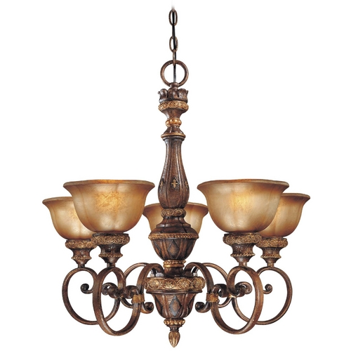 Minka Lavery Chandelier with Brown Glass in Illuminati Bronze Finish 1355-177
