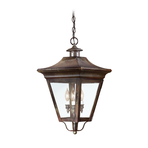Troy Lighting Outdoor Hanging Light with Clear Glass in Natural Rust Finish FCD8935NR