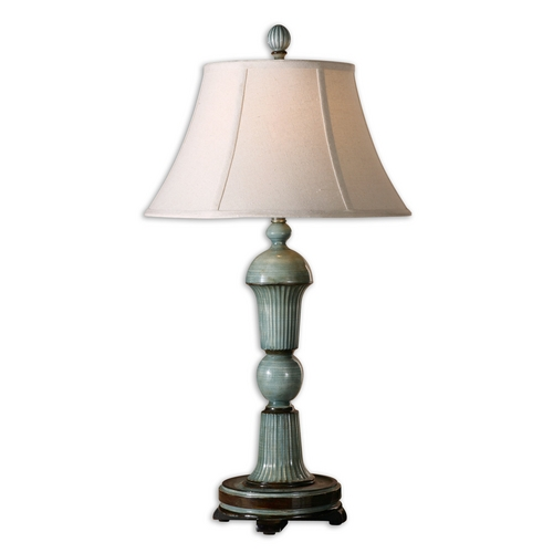 Uttermost Lighting Table Lamp with Beige / Cream Shade in Antique Blue Finish 27683