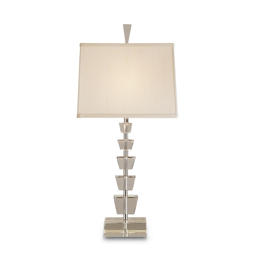 Currey and Company Lighting Modern Table Lamp with Beige / Cream Shade in Crystal/nickel Finish 6153