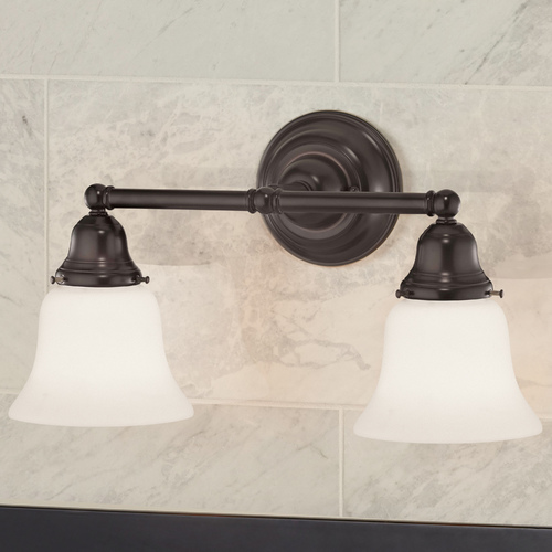 Design Classics Lighting Traditional 2-Light Bathroom Light Bronze 672-30/G9110 KIT