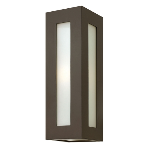 Hinkley Lighting Modern Outdoor Wall Light with White Glass in Bronze Finish 2194BZ