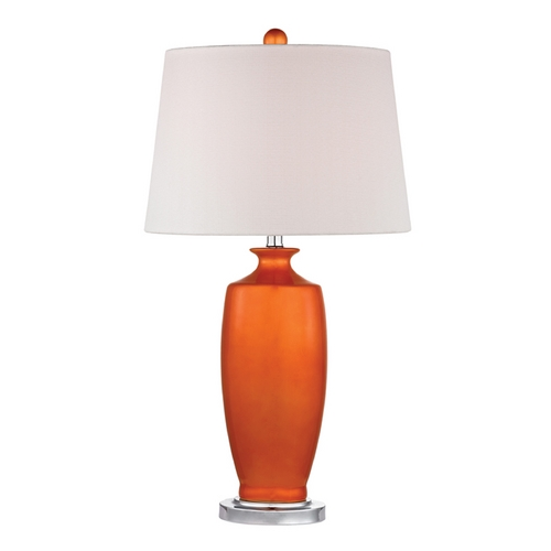Dimond Lighting Table Lamp with White Shades in Tangerine Orangewith Polished Nickel Finish D2512
