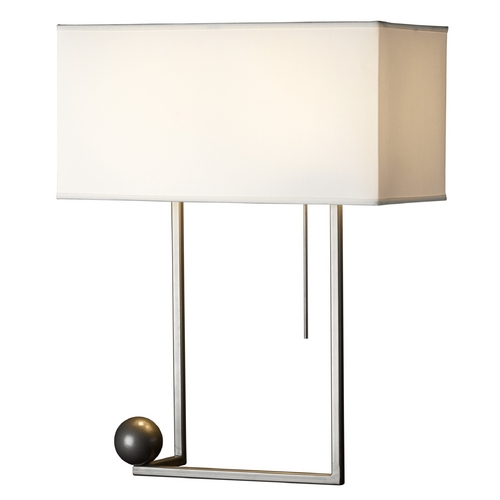 Hubbardton Forge Lighting Hubbardton Forge Lighting Balance Burnished Steel Table Lamp with Rectangle Shade 274101-08-404