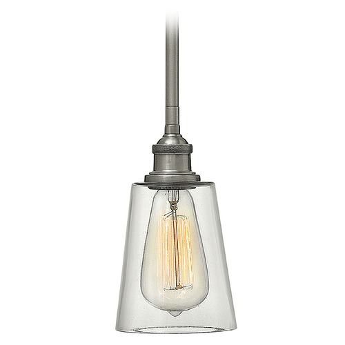Hinkley Lighting Hinkley Lighting Gatsby Polished Antique Nickel Mini-Pendant Light with Conical Shade 4937PL
