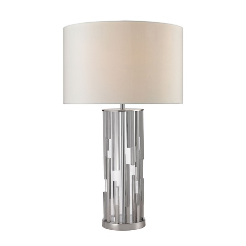 Dimond Lighting Dimond Lighting Polished Nickel, Clear Table Lamp with Drum Shade D2673