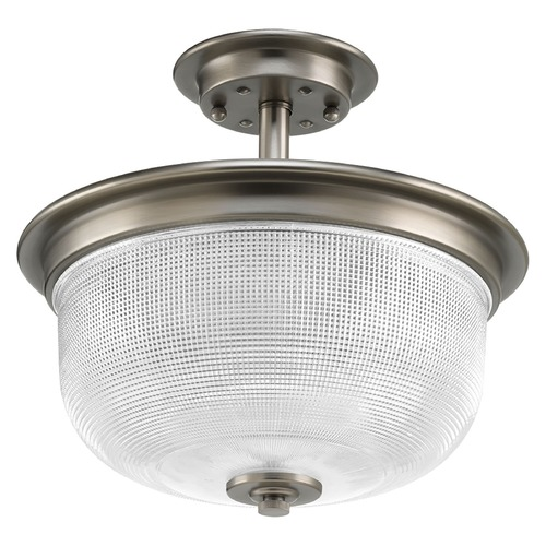 Progress Lighting Farmhouse Semi-Flushmount Light Prismatic Glass Antique Nickel Archie by Progress Lighting P2334-81