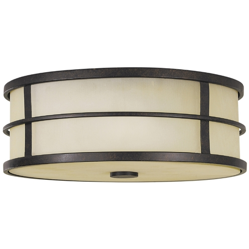 Feiss Lighting Modern Flushmount Light with Amber Glass in Grecian Bronze Finish FM257GBZ