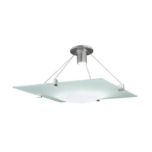 Sonneman Lighting Modern Semi-Flushmount Light with White Glass in Satin Silver Finish 3404.04