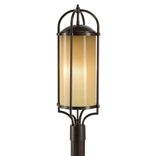 Feiss Lighting Modern Post Light with Beige / Cream Glass in Heritage Bronze Finish OL7607HTBZ