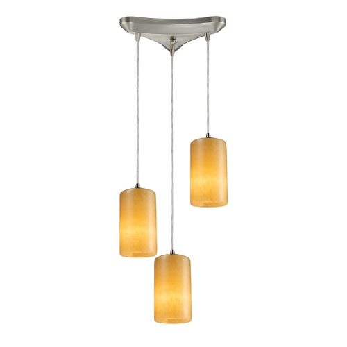Elk Lighting Modern Multi-Light Pendant Light with Orange Shades and 3-Lights 10169/3