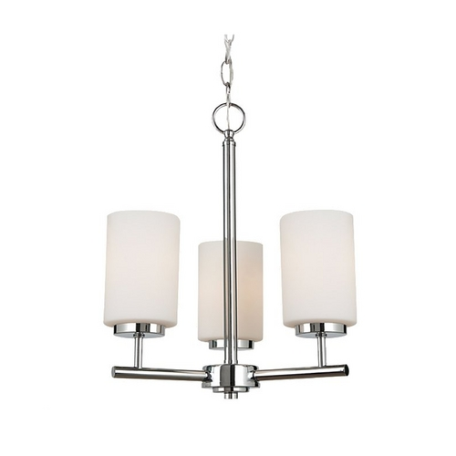 Sea Gull Lighting Modern Mini-Chandelier with White Glass in Chrome Finish 31160-05
