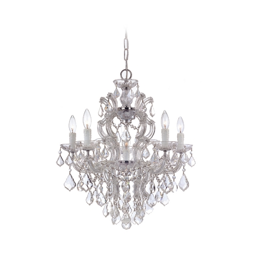 Crystorama Lighting Crystal Chandelier in Polished Chrome Finish 4435-CH-CL-S