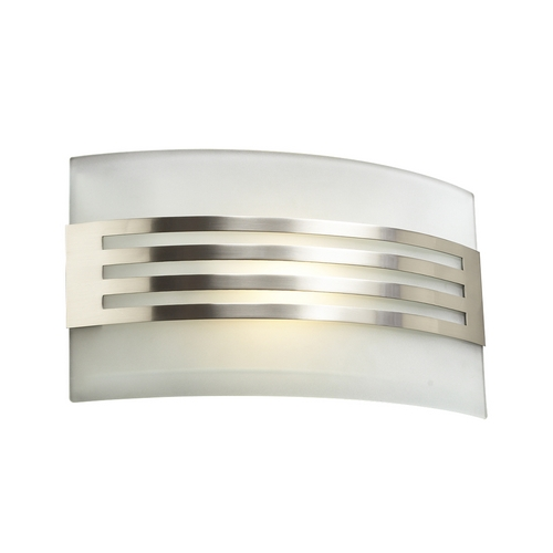 PLC Lighting Modern Sconce Wall Light with White Glass in Satin Nickel Finish 2320 SN