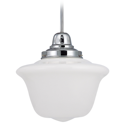 Design Classics Lighting 14-Inch Chrome Period Lighting Schoolhouse Pendant Light FB6-26 / GD14