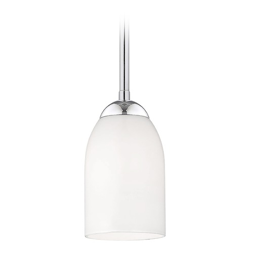 Design Classics Lighting Contemporary Mini-Pendant Light with Satin White Glass Shade 581-26 GL1028D