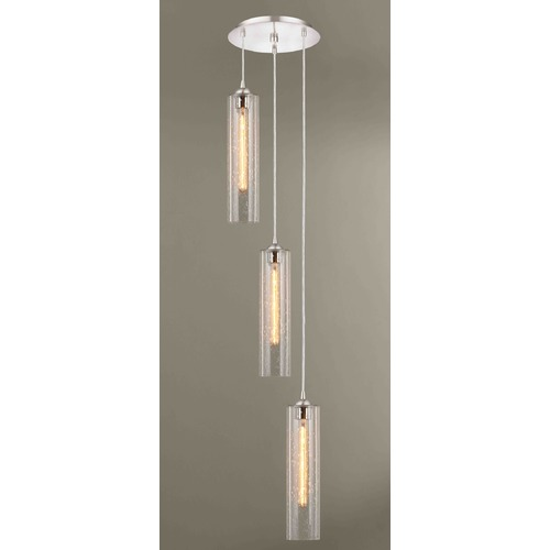 Design Classics Lighting Gala Fuse Satin Nickel Multi-Light Pendant with Cylindrical Shade 583-09 GL1641C