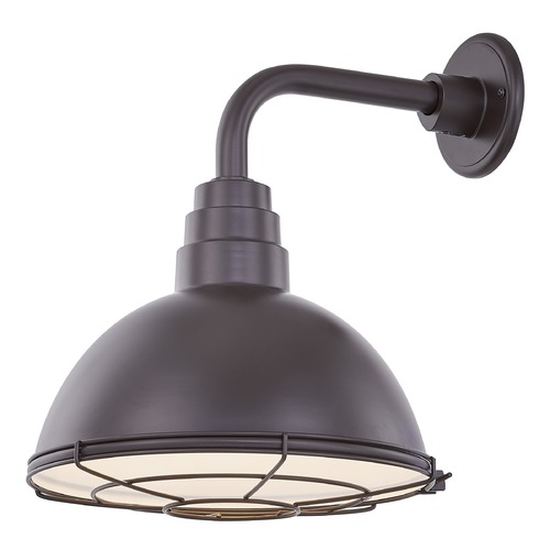 Recesso Lighting by Dolan Designs Bronze Gooseneck Barn Light with 12-Inch Caged Dome Shade BL-ARMD1-BZ/BL-SH12D/CG12S