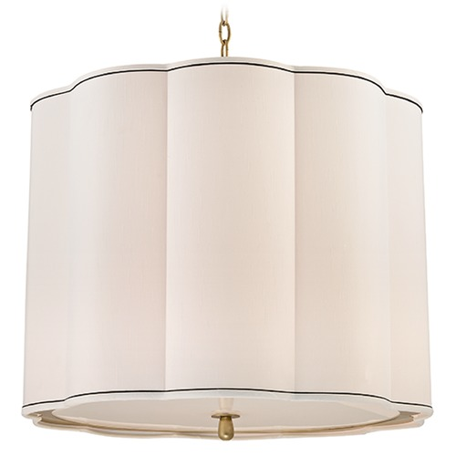 Hudson Valley Lighting Sweeny 5 Light Pendant Light Drum Shade - Aged Brass 7925-AGB