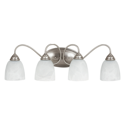 Sea Gull Lighting Bathroom Light with Alabaster Glass in Antique Brushed Nickel Finish 44319-965
