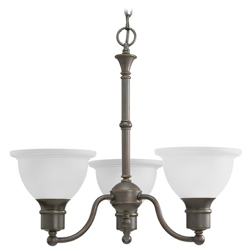 Progress Lighting Progress Chandelier with White Glass in Antique Bronze Finish P4280-20