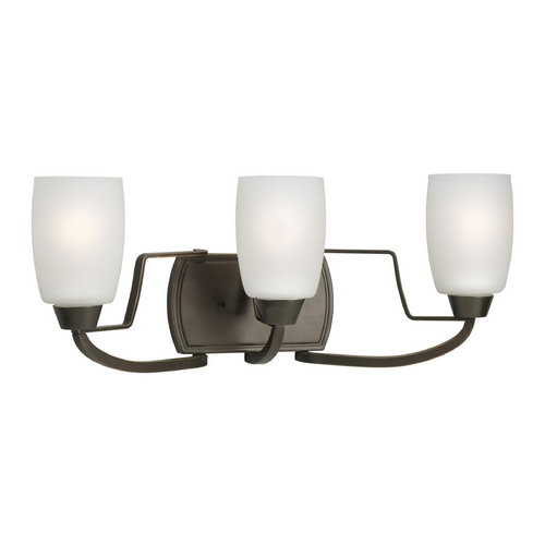 Progress Lighting Progress Bathroom Light with White Glass in Antique Bronze Finish P2796-20