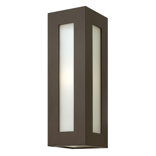 Hinkley Lighting Modern Outdoor Wall Light with White Glass in Bronze Finish 2194BZ-GU24