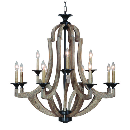 Jeremiah Lighting Jeremiah Winton Weathered Pine, Bronze Chandelier 35112-WP