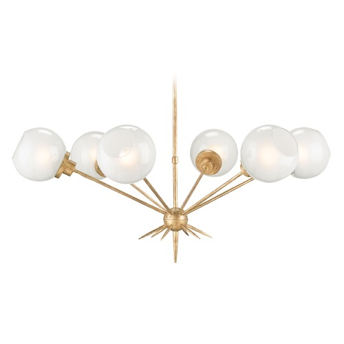 Currey and Company Lighting Mid-Century Modern Chandelier Washed Gold Leaf Shelly by Currey and Company Lighting 9515