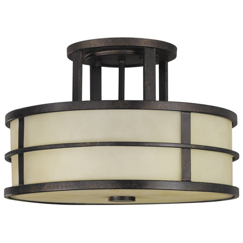 Feiss Lighting Modern Semi-Flushmount Light with Amber Glass in Grecian Bronze Finish SF217GBZ