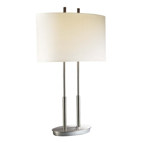 George Kovacs Lighting Modern Table Lamp with White Shades in Brushed Nickel Finish P184-084