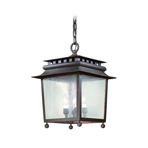 Troy Lighting Outdoor Hanging Light with Clear Glass in Natural Rust Finish FCD8948NR