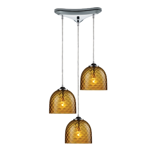 Elk Lighting Multi-Light Pendant Light with Amber Glass and 3-Lights 31080/3AMB